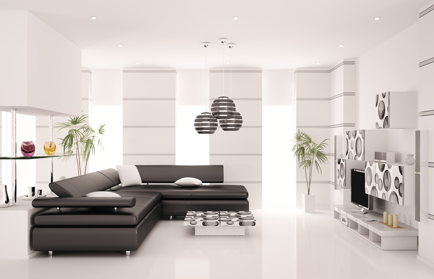 All White Modern Living Room Design With Black Sectional Sofa Picture