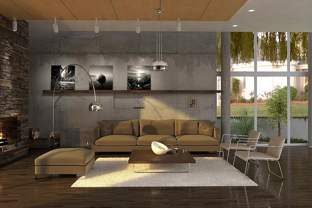 Modern Living Room Design With Grey Wall White Rug Dark Wood Floor