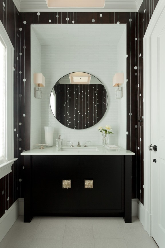 Custom powder room design in dark brown and white