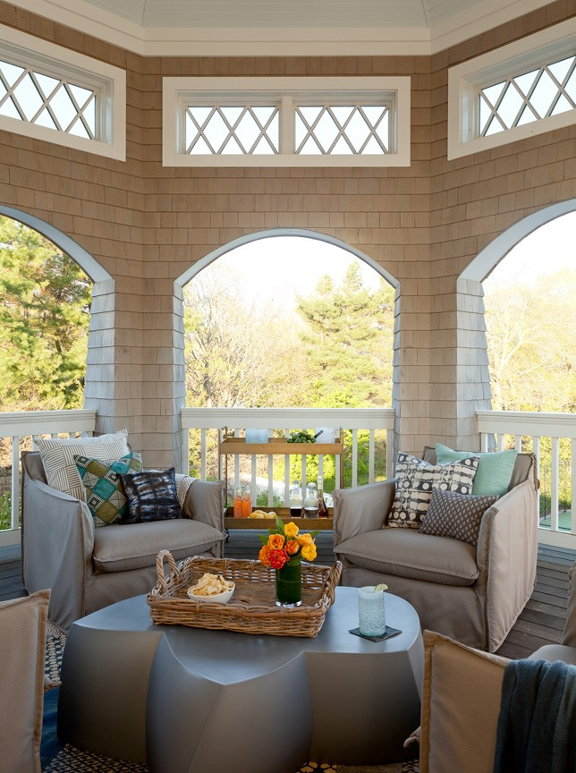 Interior of a custom shingle-style gazebo