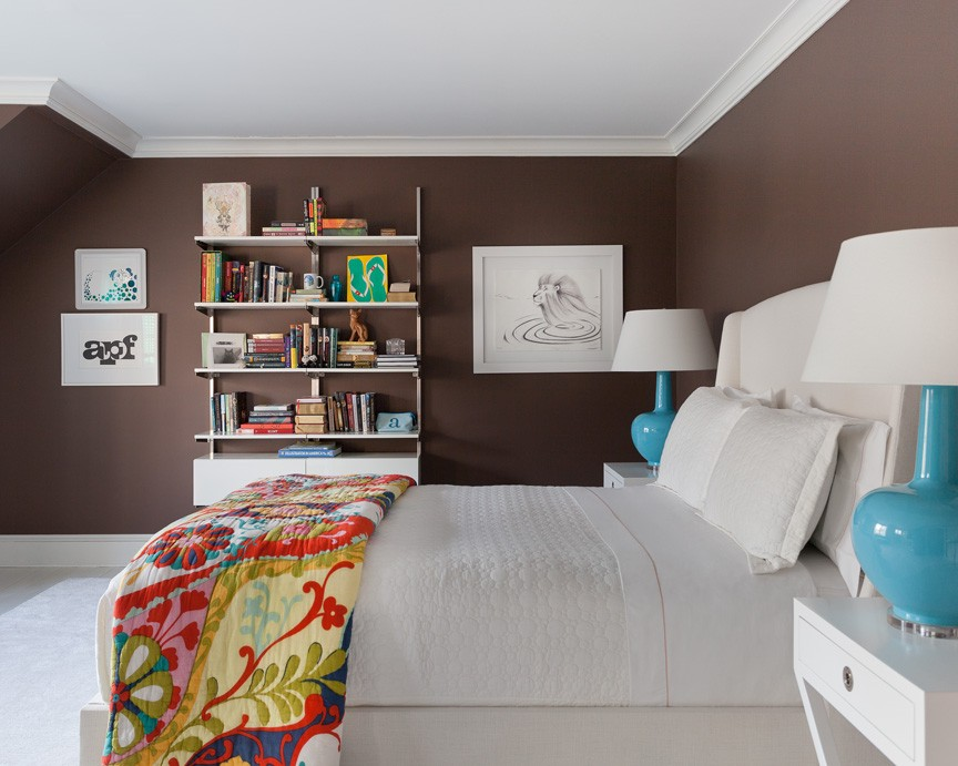 Bedroom in dark brown and white color scheme
