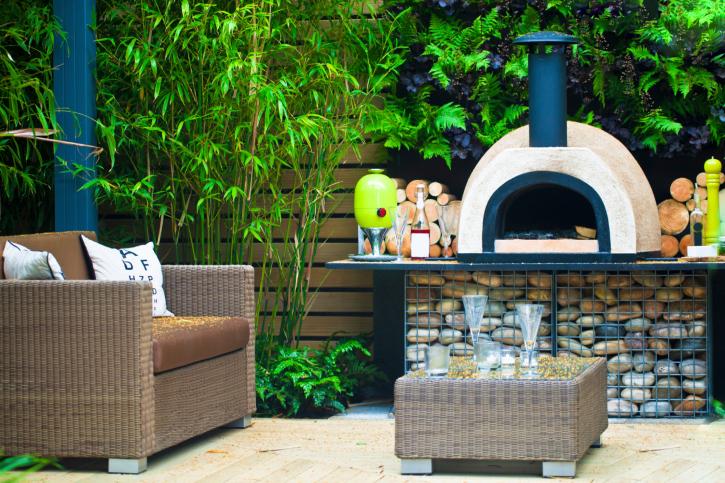 Stylish elevated fireplace with rock base