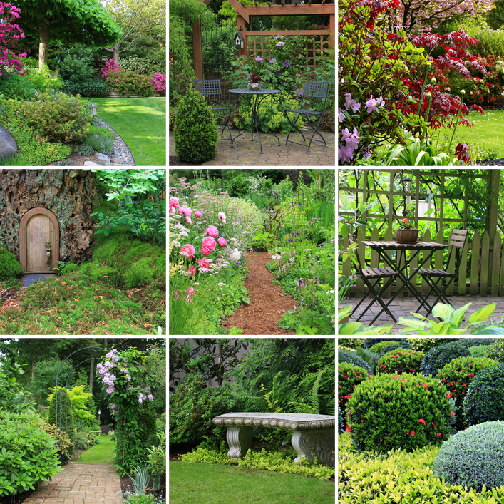 Collage of 9 pictures of gardens including garden patios