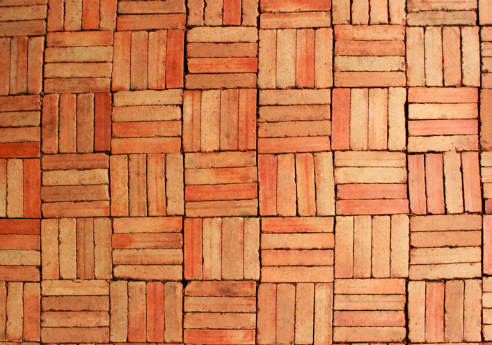 Basket weave brick patio design pattern
