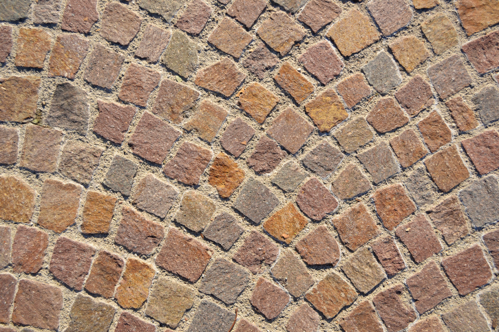 Fish scale brick patio design pattern