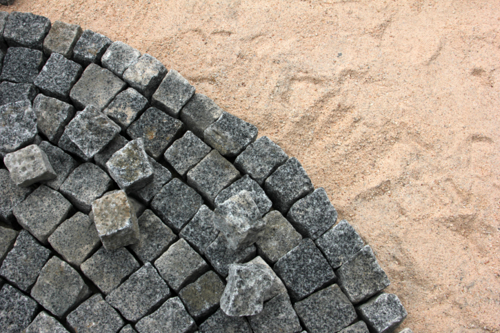 Close-up of cobblestone brick pattern construction