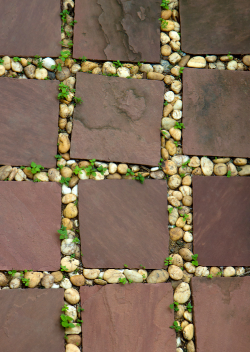 Standard brick pattern with pebble inlay