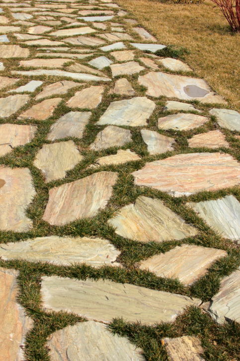 Flagstone patio with grass inlay