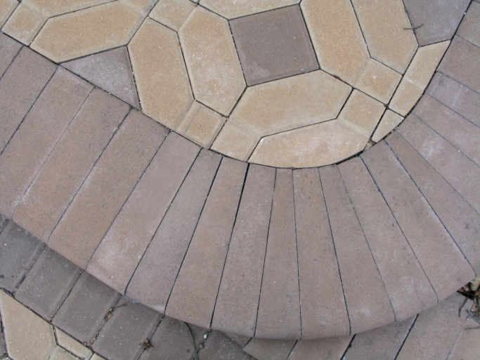 Example of intricately multi-pattern patio with header