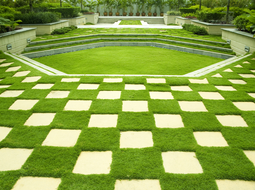 Checkered brick and grass design