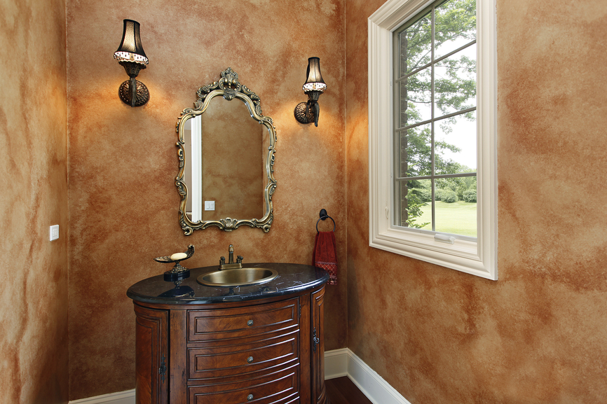 Brightly designed small bathroom with white floor round window and - 30 Powder Room Decorating Ideas Photo Gallery