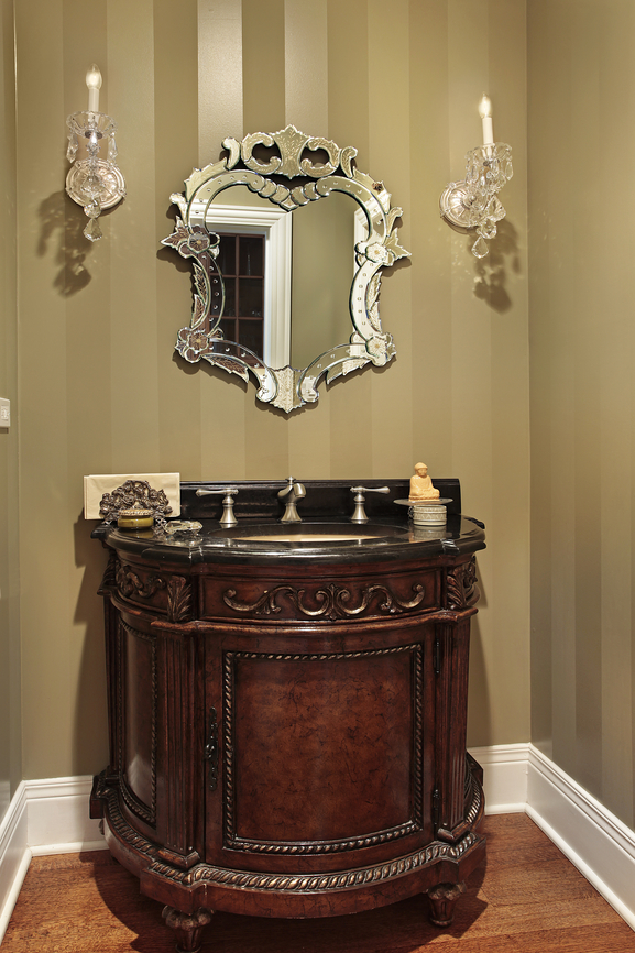 30 powder room decorating ideas photo gallery for Powder room vanity ideas