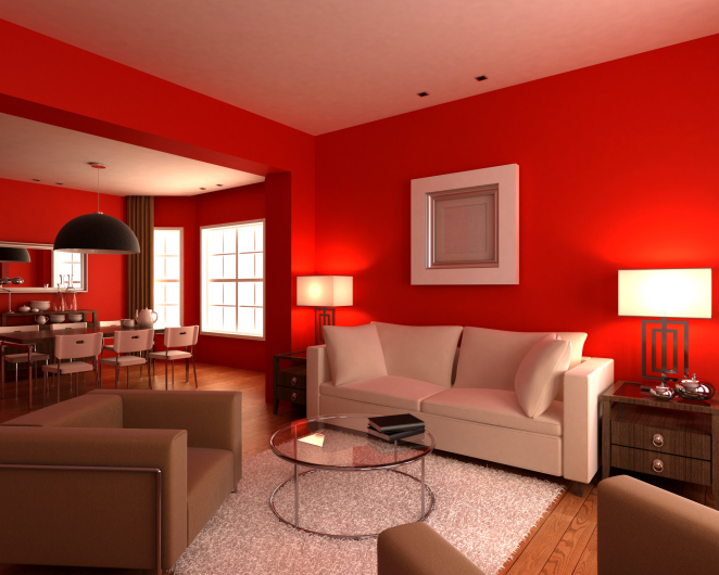 Living room with red walls, white and brown furniture, white rug, glass  coffee