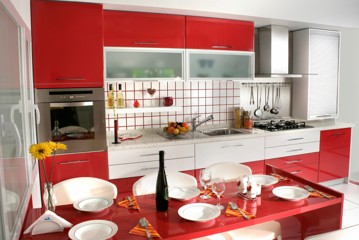 Red and white kitchen design.