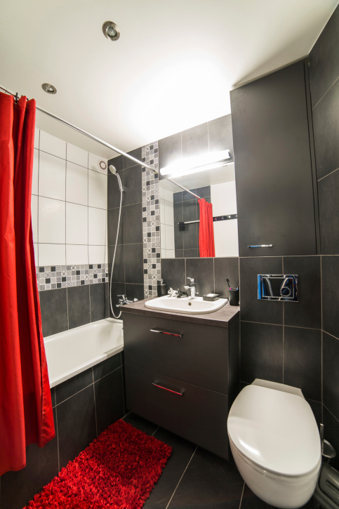 Dark Bathroom With Red Shower Curtain And Floor Rug