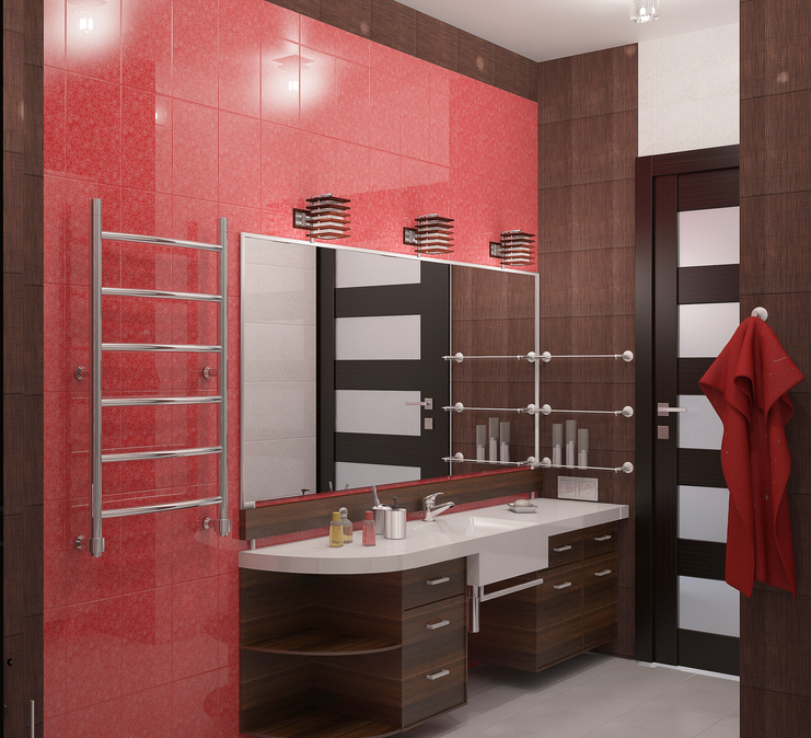 Contemporary bathroom with wood vanity and one red wall