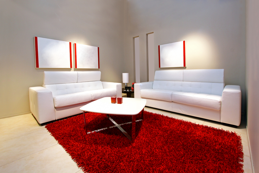 Minimalist Living Room With Grey Walls 2 White Sofas And Large Red Rug