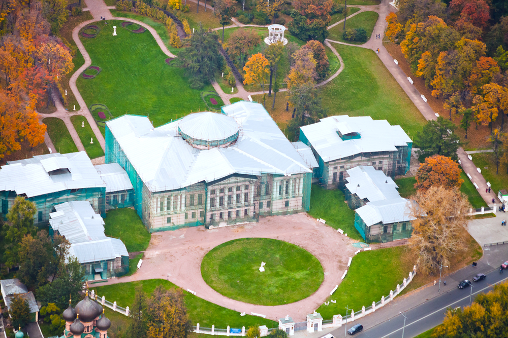 Aerial view of Ostankino Palace and grounds in Moscow