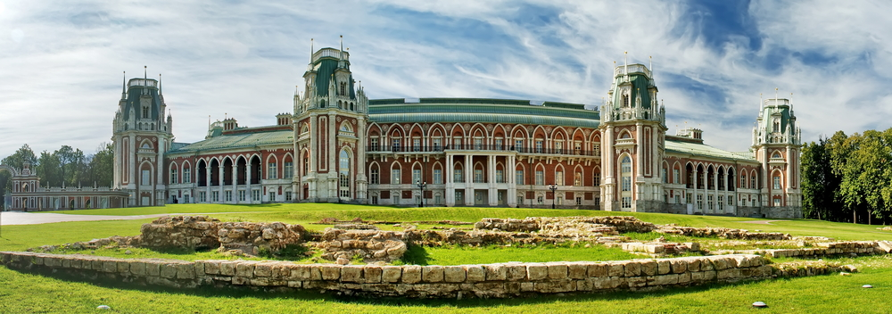 Panarama picture of the Grand Palace in Tsaritsyno