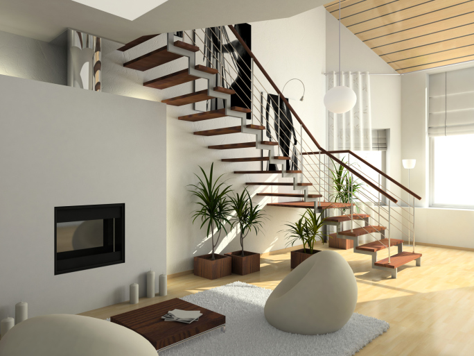 Open riser staircase in modern home.