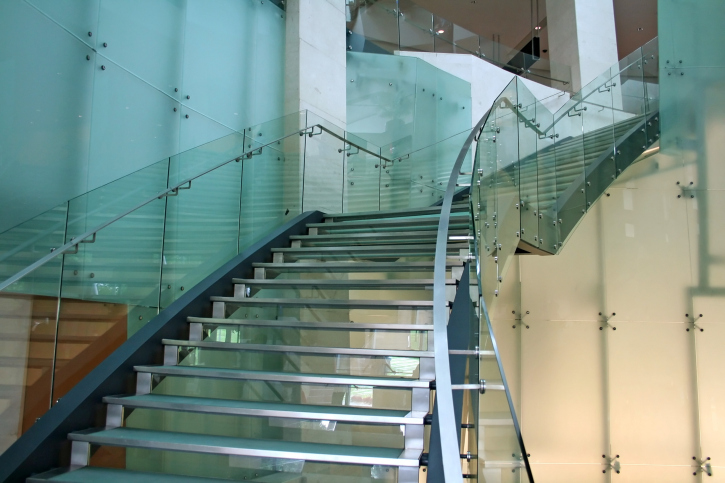 Glass and steel staircase.