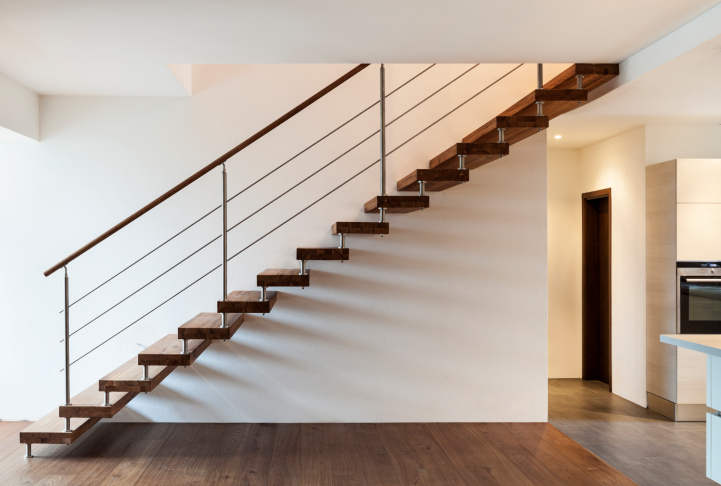 Simple, but beautiful, open riser wood and steel staircase.