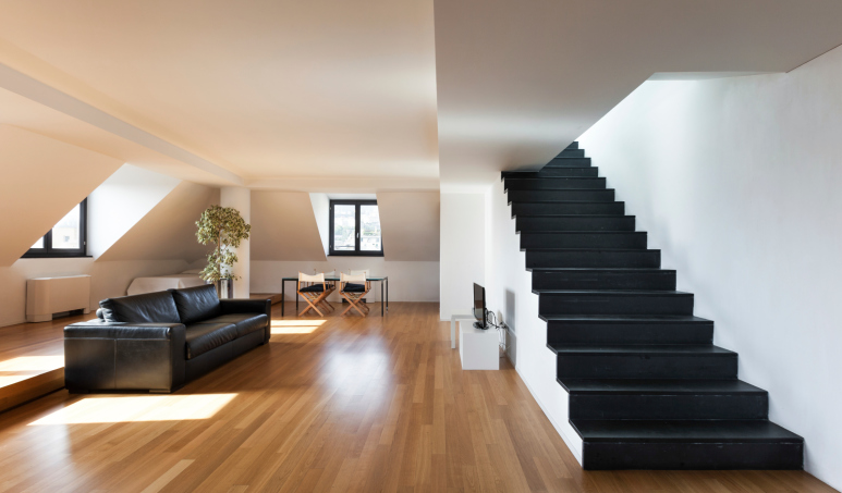 black and white staircase with no balustrade