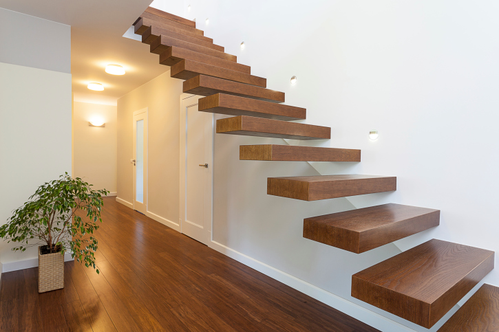 Slabs of wood compose this beautiful floating staircase.