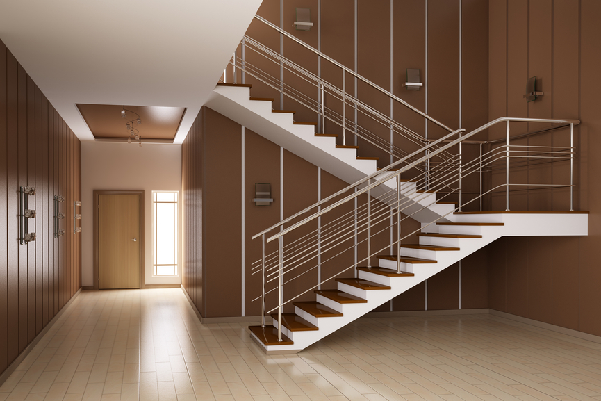 Staircase with landing and shallow treads.