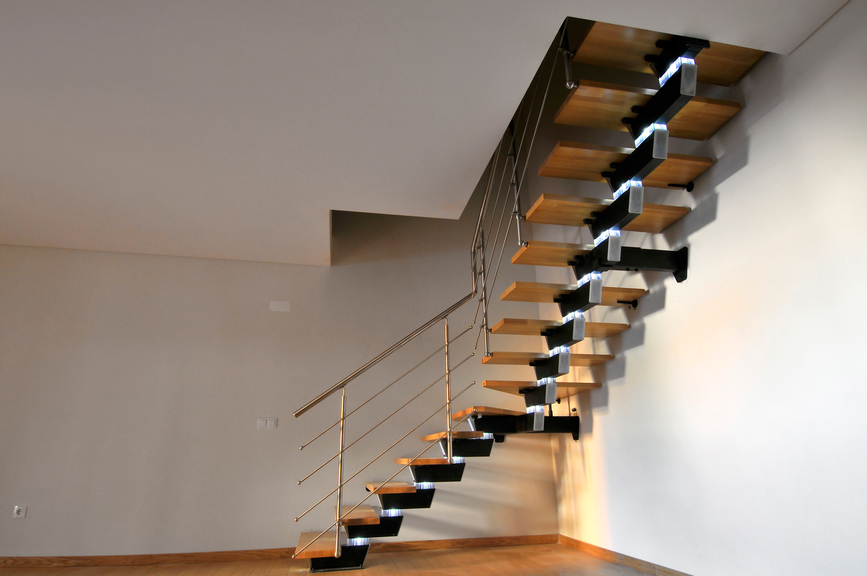 L-shaped staircase with open construction.