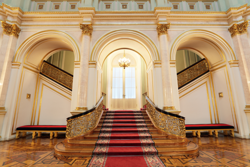 Grand staircase at a palace.