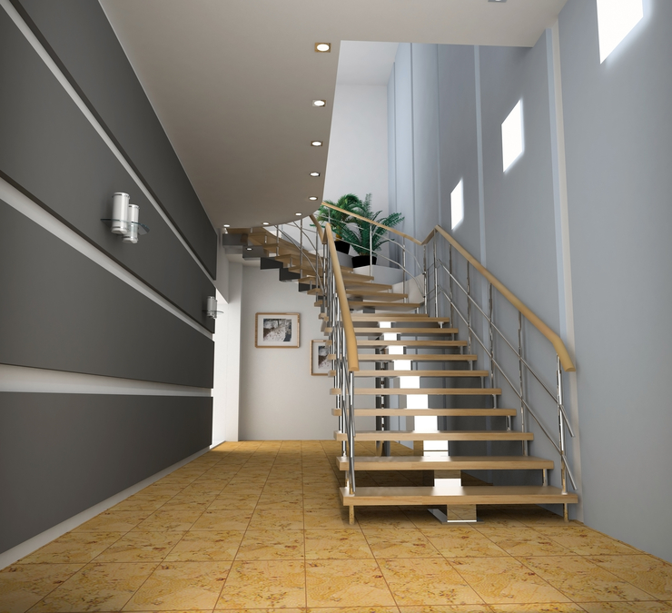Open riser staircase in a modern home.