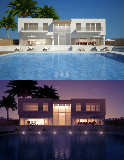 Modern home with large backyard pool - 2 images - one during day and one at night