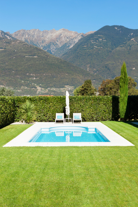 Light blue pool with small white wrap-around patio in the middle of a large grass yard bordered by elegant hedge