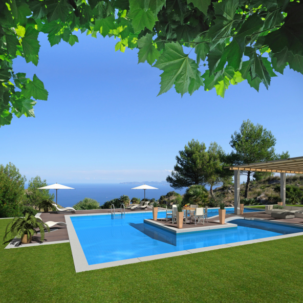 Large pool surrounded by grass with a patio island