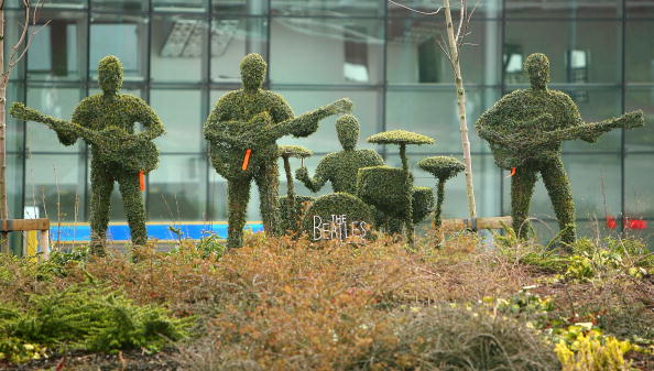 Topiary plants sculpted into shapes of the Beatles