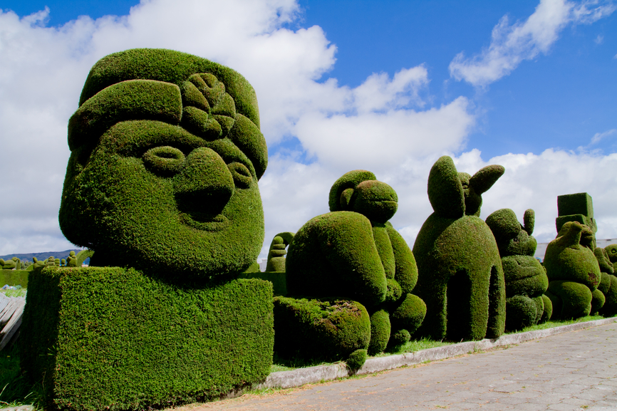Intricate topiary shapes of a face, monkey and other animals