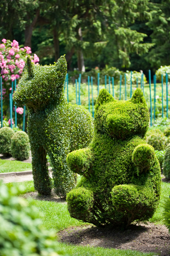 Topiary dog and bear