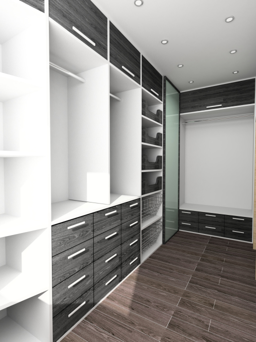 Large white and wood walk-in closet picture