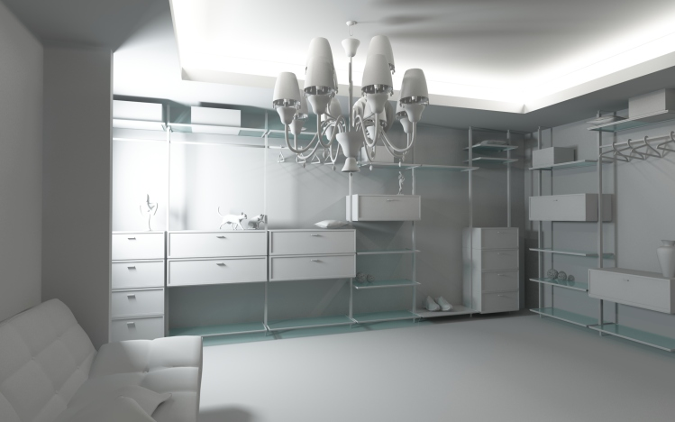 Luxurious all-white walk in closet with shelves, drawers and seating