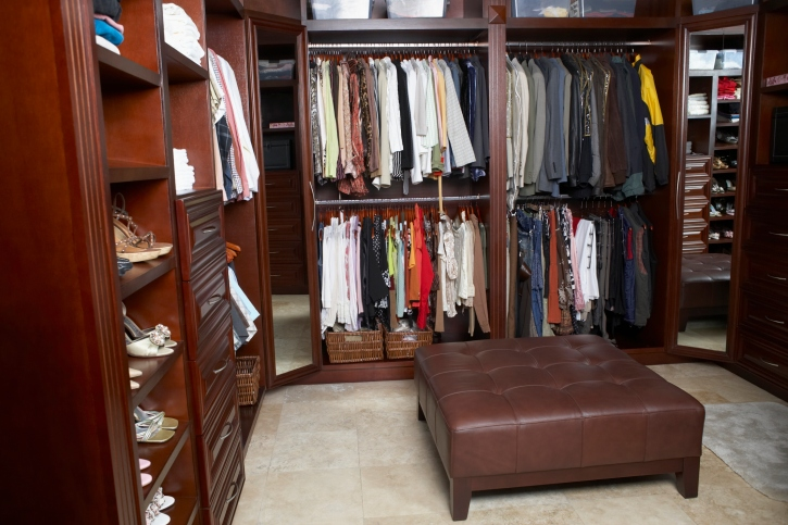Luxuriously Huge Dark Wood Walk In Closet Picture