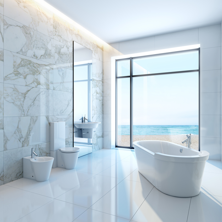 Large Bright White Bathroom Design