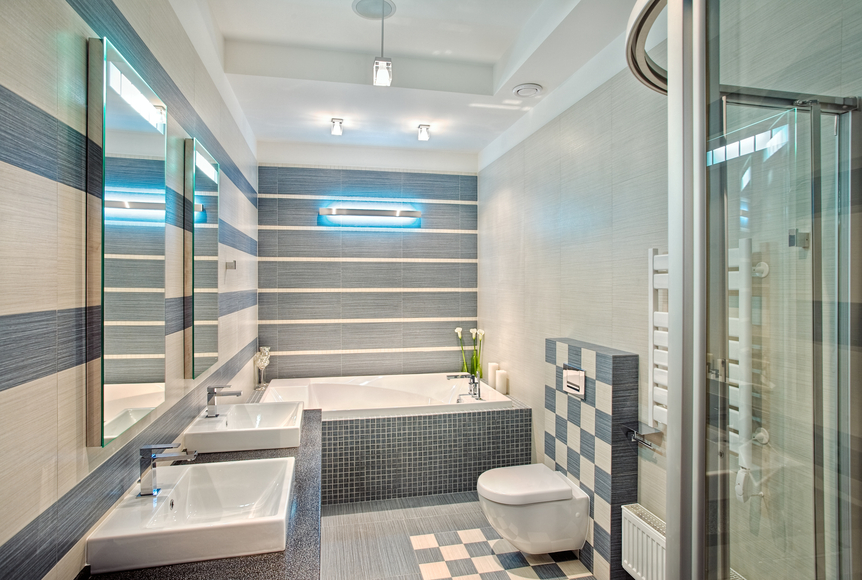 Luxury Bathroom With Blue And White Tile