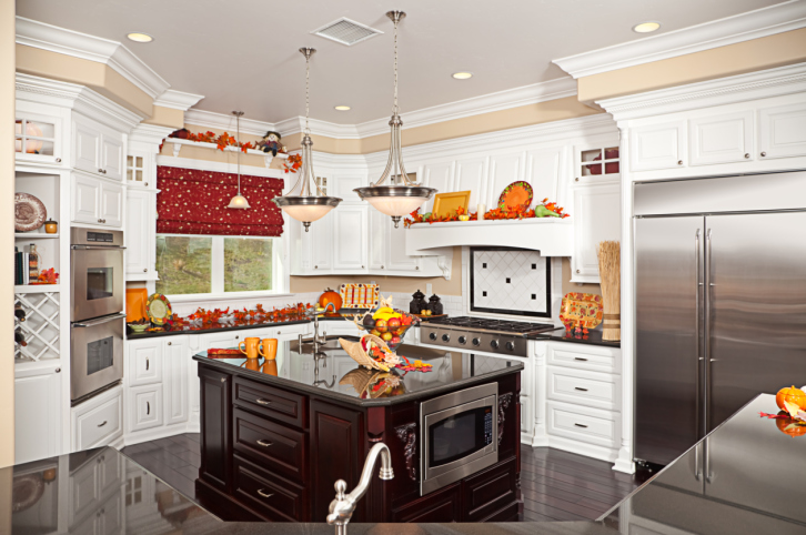 White Country Kitchen with Large Black Island