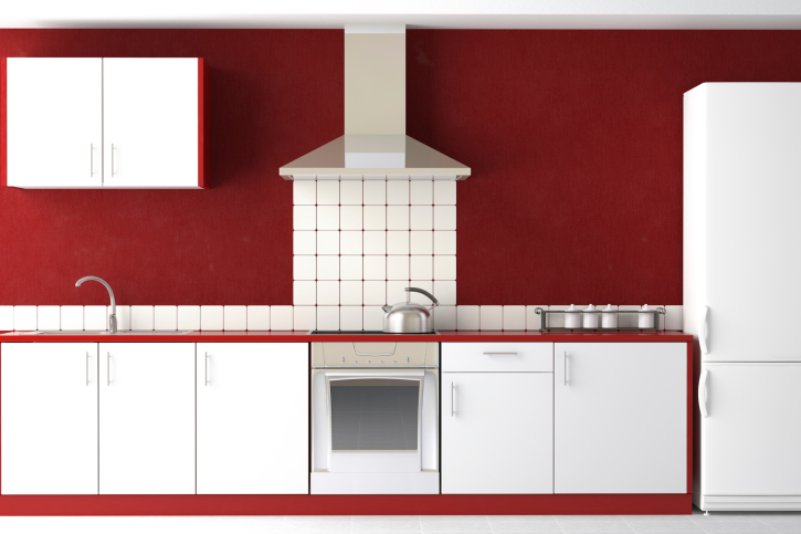 White Kitchen with Deep Red Walls