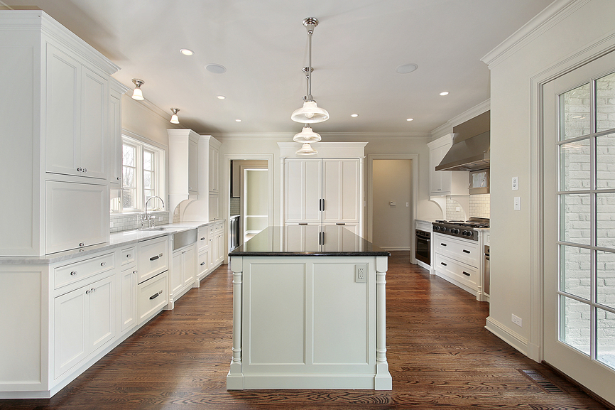 White Kitchen Maple Floors luxury one wall kitchen with white cabinets marble counter and