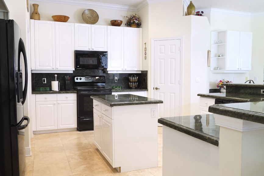 basic white kitchen with dark countertops - Kitchen Design Ideas With White Appliances