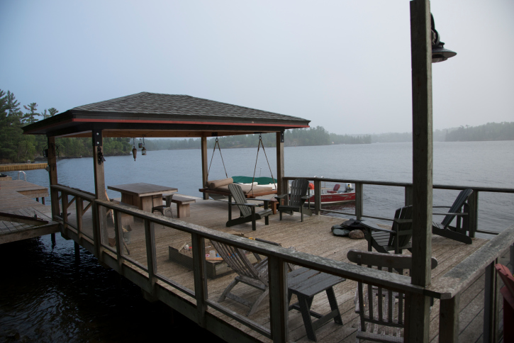Large dock deck with gazebo over water