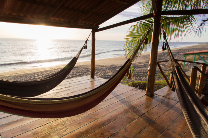 Covered beach deck with 2 hammocks