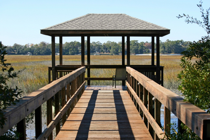 Dock with deck on the end along with wooden gazebo